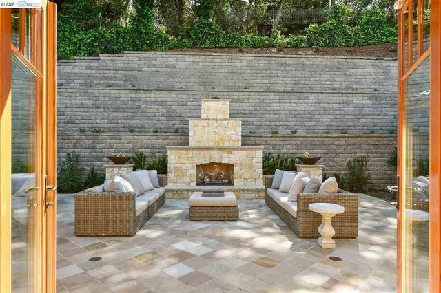 Private patio and fireplace